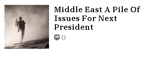 News Flash Middle East Not Tranquil